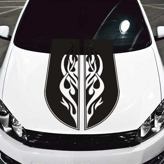 tribal scroll flames car hood decal sticker