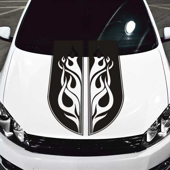 Tribal Scroll Flames Car Hood Decal #2