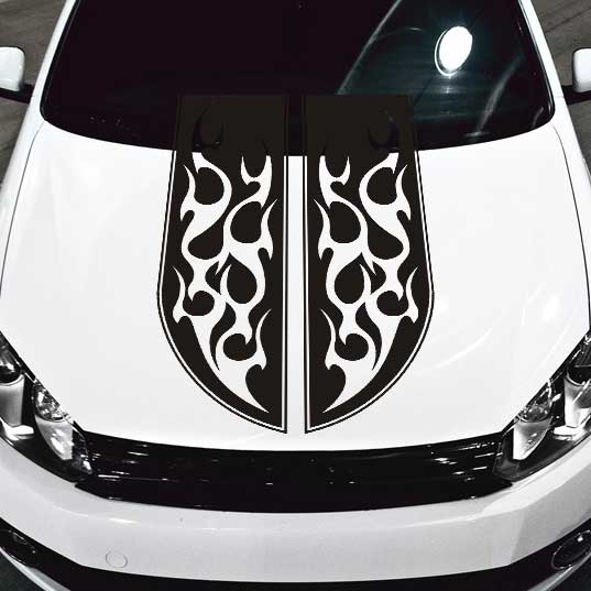 Tribal Flames Stripe Car Hood Decal