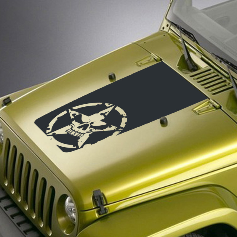 army star skull jeep hood blackout decal sticker