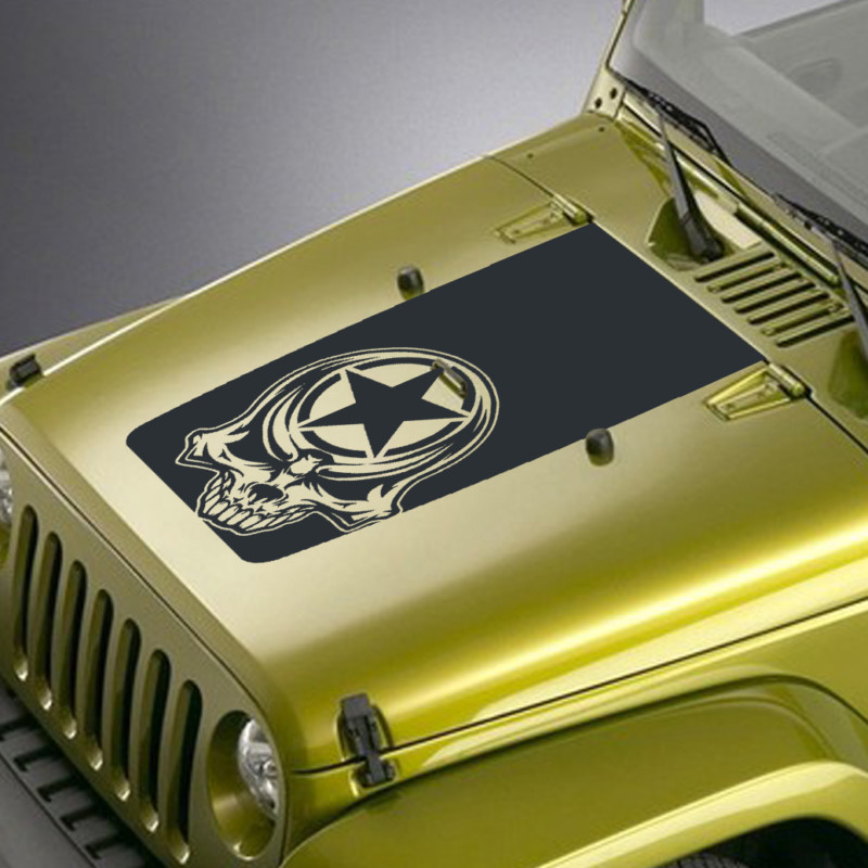 tribal skull army star jeep hood blackout decal sticker
