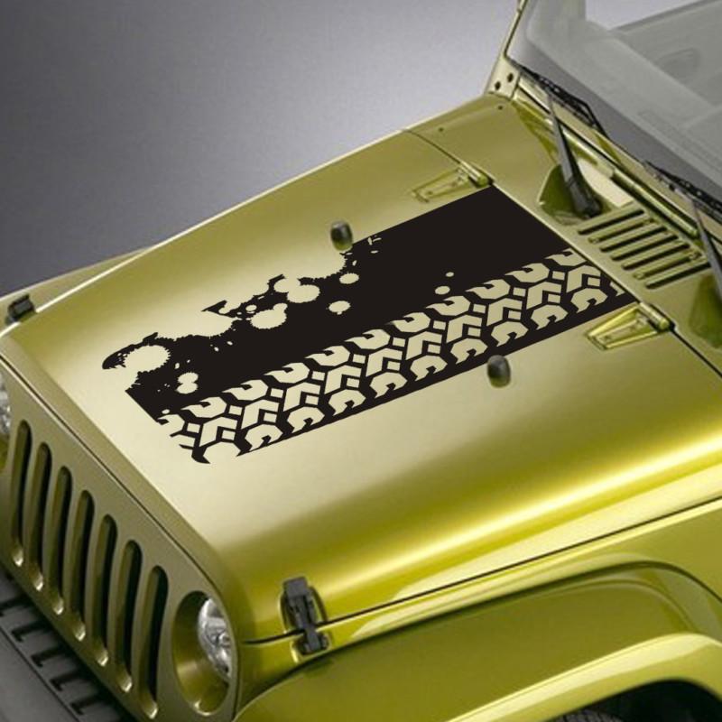 Tire tread splatter jeep hood blackout decal sticker