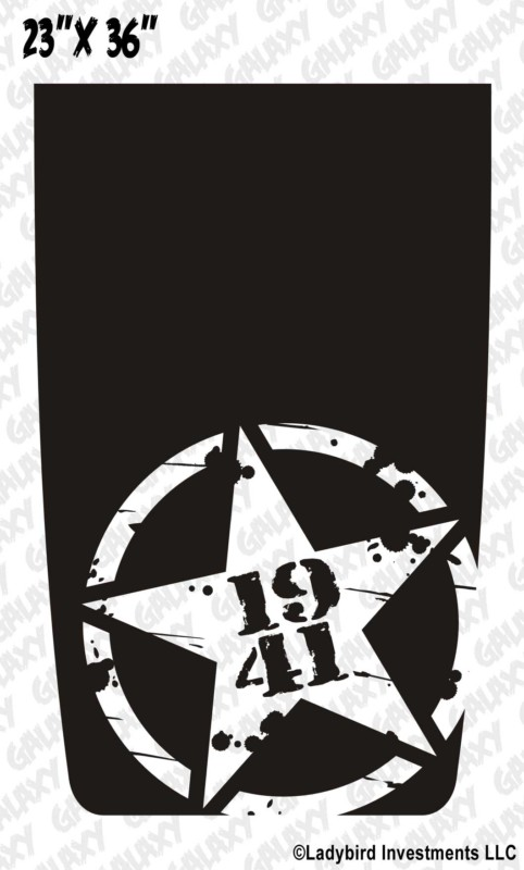 Distressed Army Star 1941 Jeep Blackout Decal Sticker