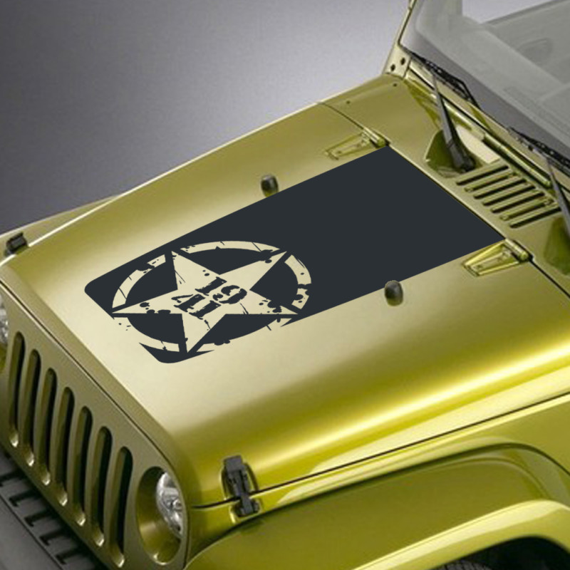 distressed army star 1941 jeep hood blackout decal sticker