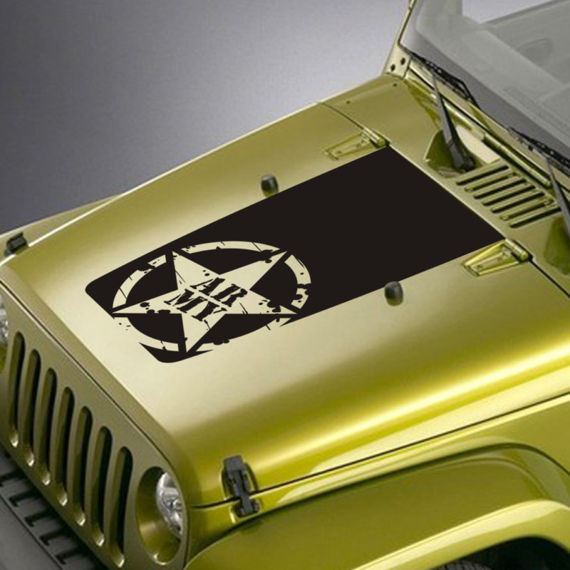 distressed army star lettering jeep hood blackout decal sticker