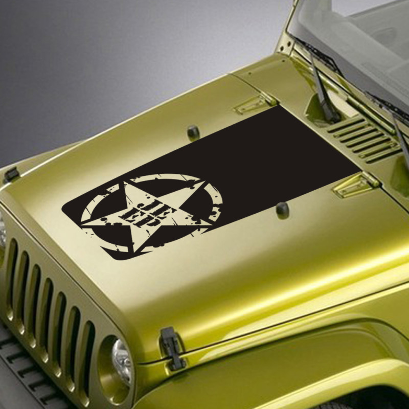 distressed army star jeep hood blackout decal sticker