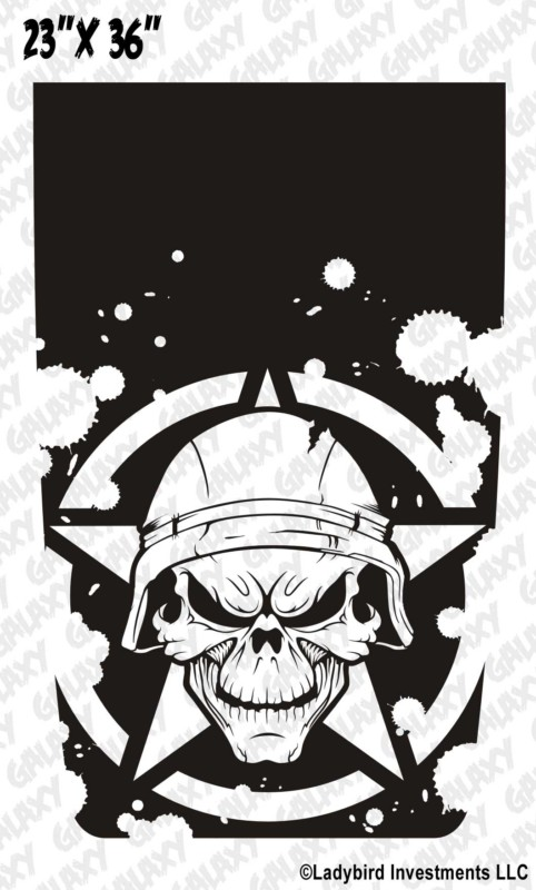 Soldier Skull Army Star Jeep Blackout Decal Sticker