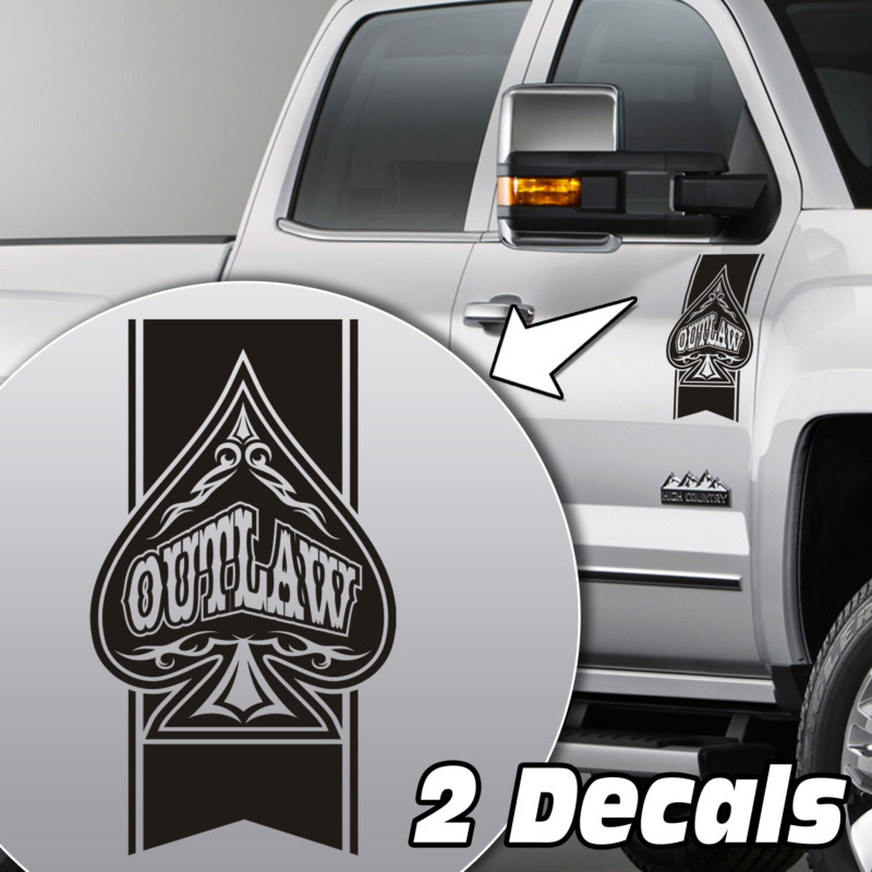 outlaw spade truck door/fender decal sticker kit