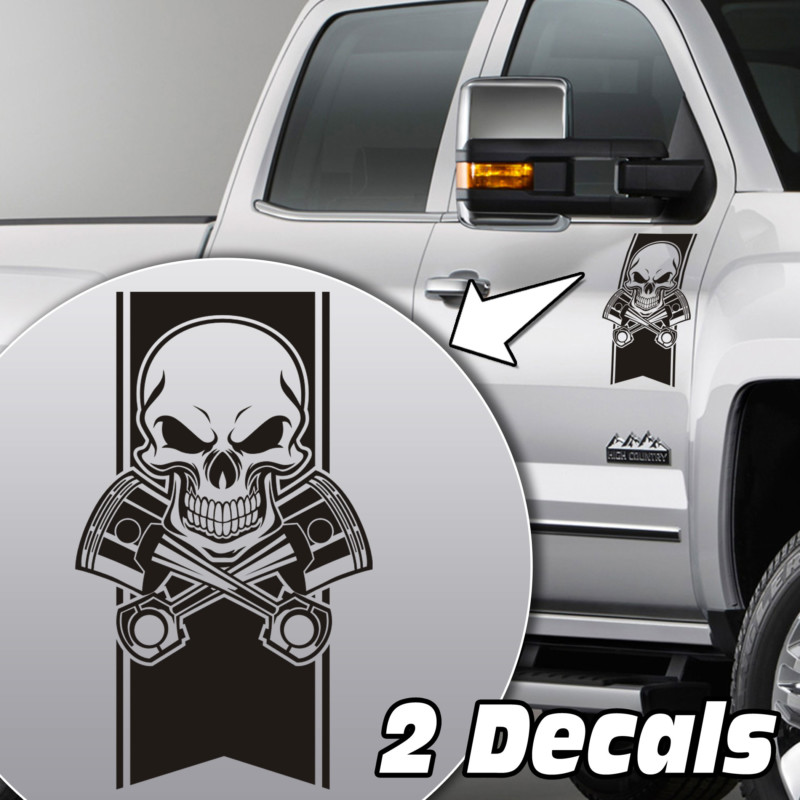 Skull & Pistons Truck Door/Fender Decal