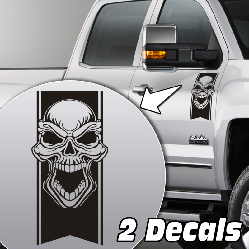 tribal skull truck door/fender decal sticker kit
