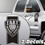 zombie outbreak badge truck door/fender decal sticker kit