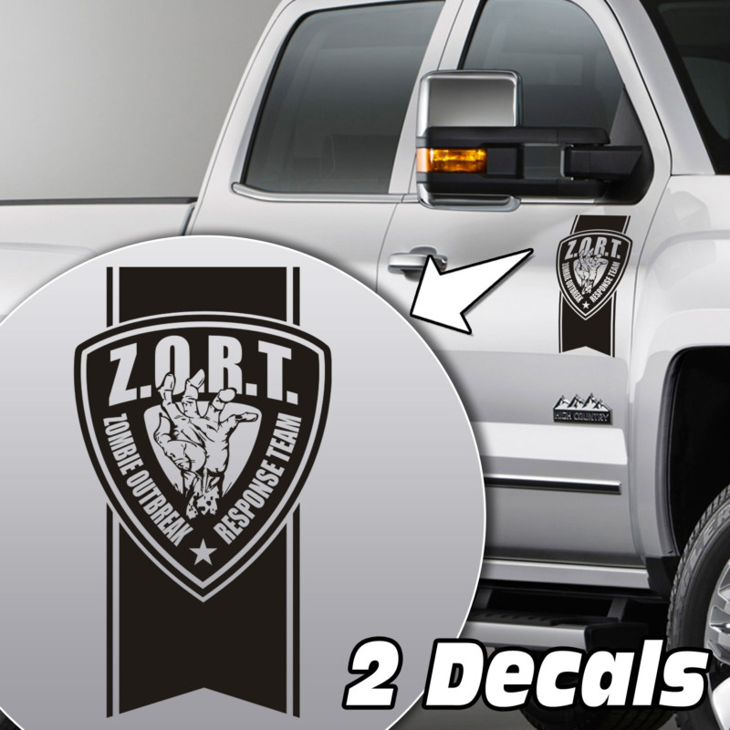 zombie outbreak badge truck door/fender decal sticker kit