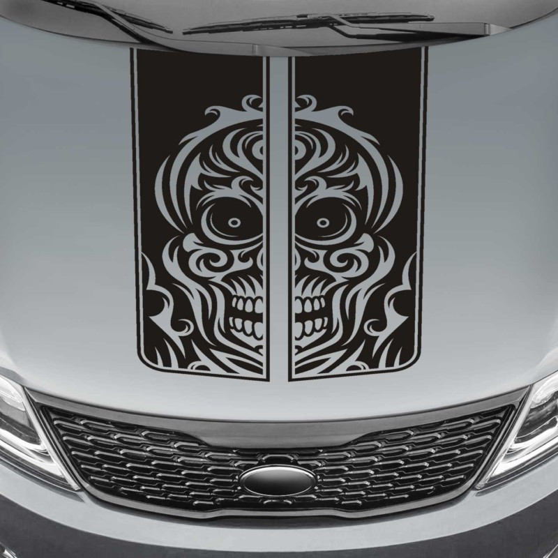 tribal skull truck hood stripe decal sticker