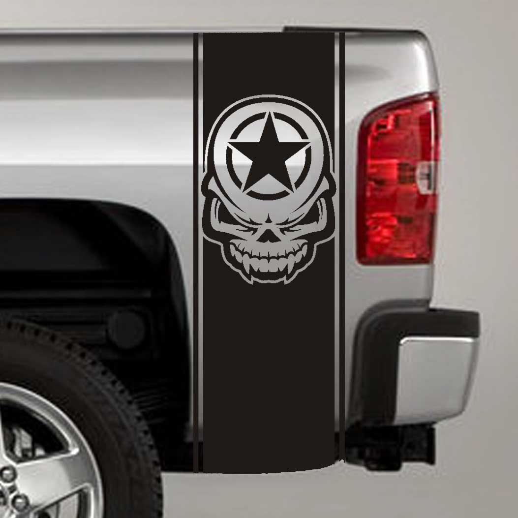 army star skull military truck bed stripe decal sticker
