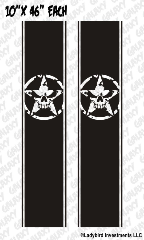 Army Star Skull Military Truck Bed Stripe Decals 1 Pair Jeepazoid