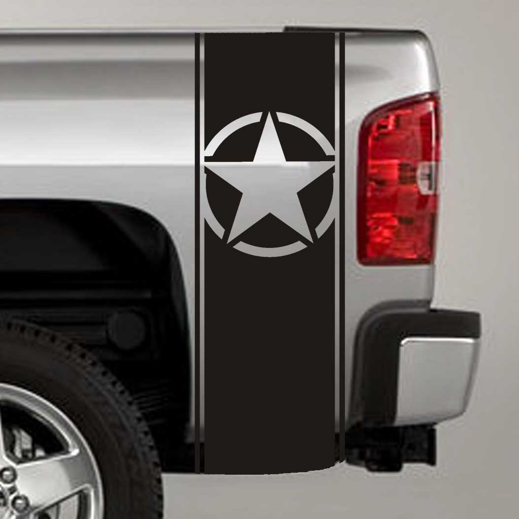 Army Star Truck Bed Stripe Decals (Pair)