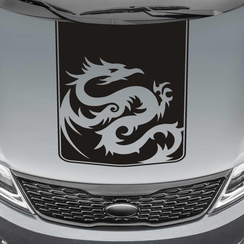 tribal dragon blackout truck hood decal sticker