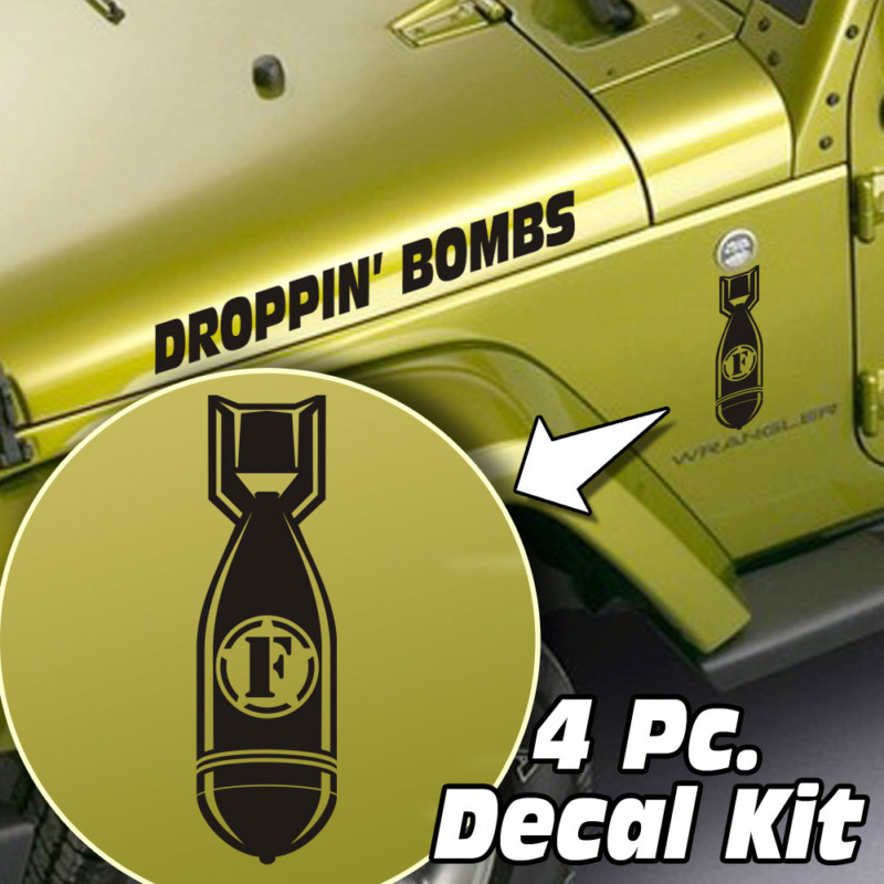 4 Pc. Hood / Fender Droppin F-Bombs Decal Kit – Fits Jeep Wrangler