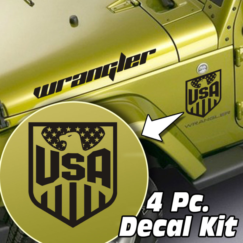 Jeep Wrangler 4 Pc. Hood / Fender USA Eagle Badge Decal Kit