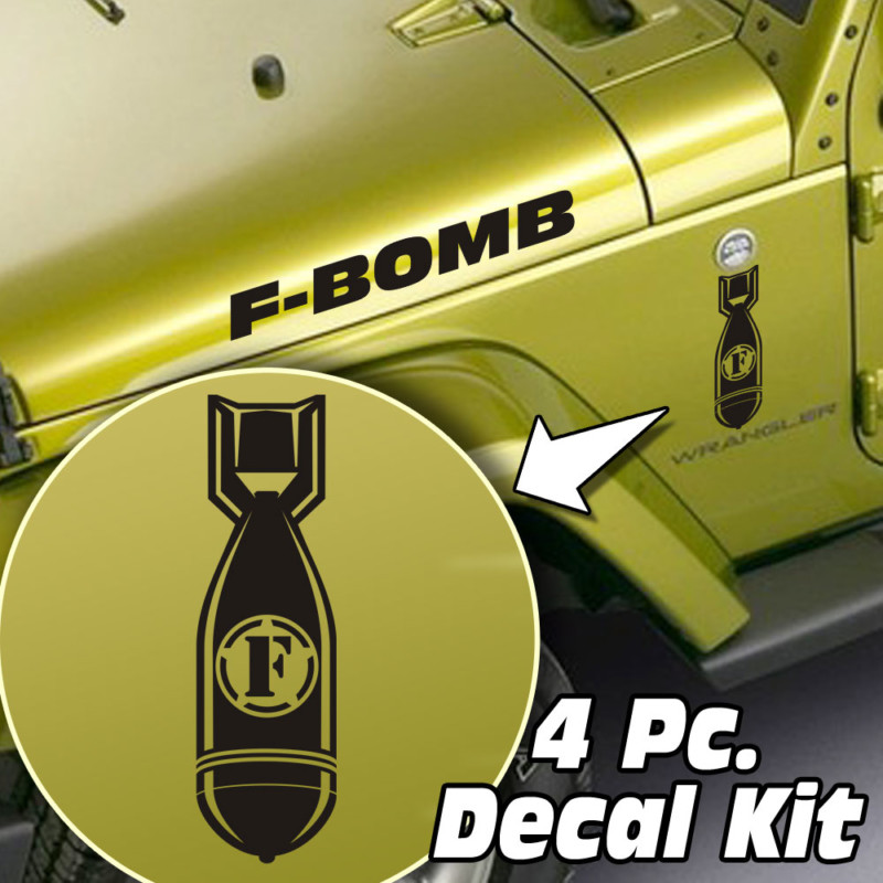 Jeep Wrangler 4 Pc. Hood / Fender F-bomb Decal Kit