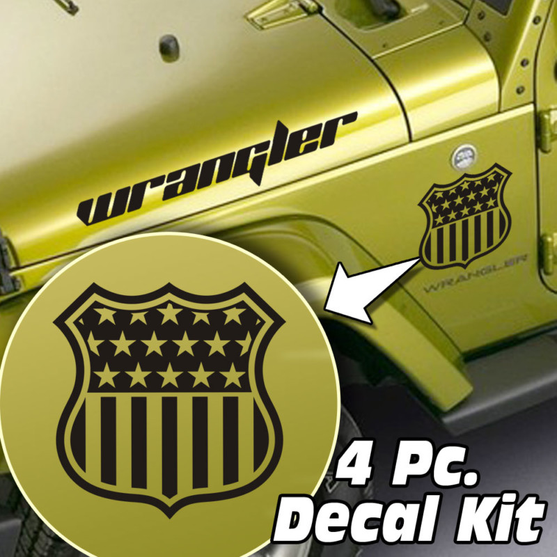 Jeep Wrangler 4 Pc. Hood / Fender Flag Badge Decal Kit