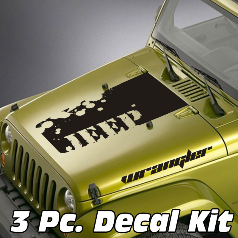 Jeep Wrangler 3 Pc. Distressed Jeep Lettering Wrangler Blackout Kit