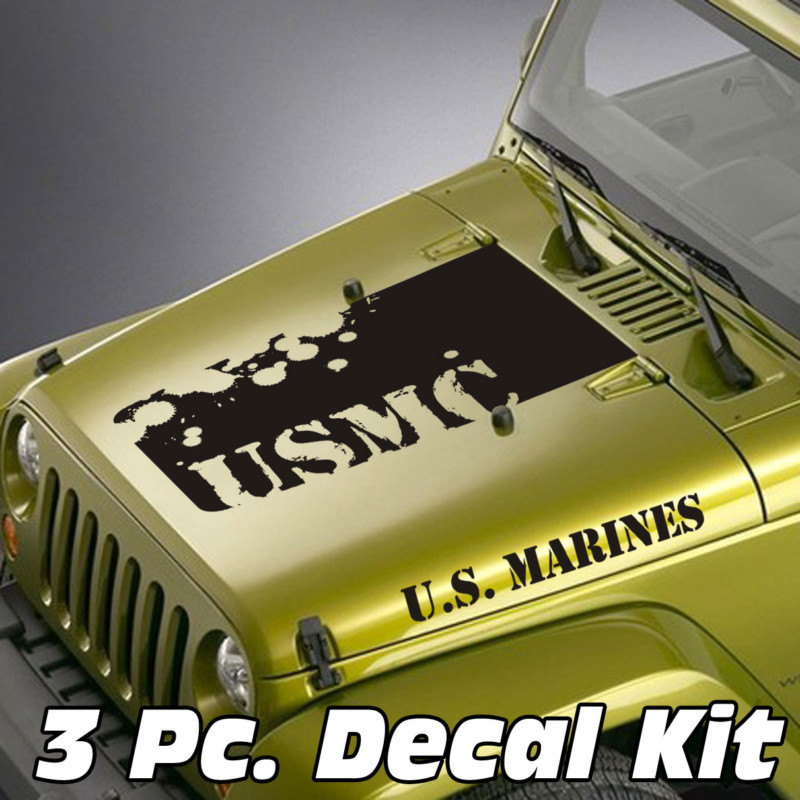 Jeep Wrangler 3 Pc. Distressed USMC Lettering Blackout Kit