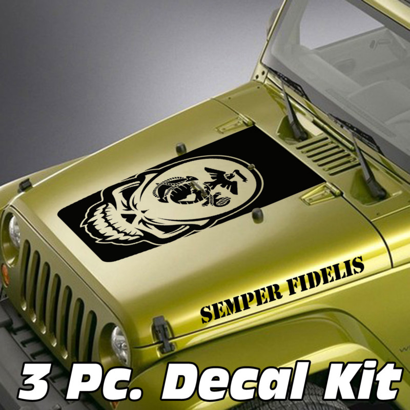 Jeep Wrangler 3 Pc. Skull Marines Globe & Anchor Semper Fidelis Blackout Kit