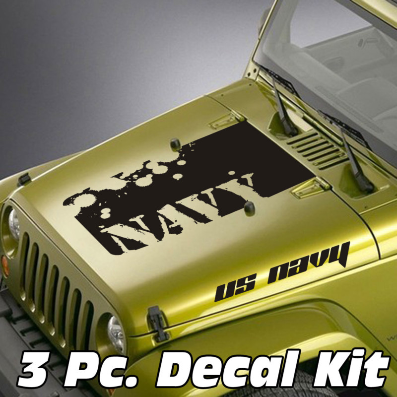 Jeep Wrangler 3 Pc. Distressed US Navy Lettering Blackout Kit