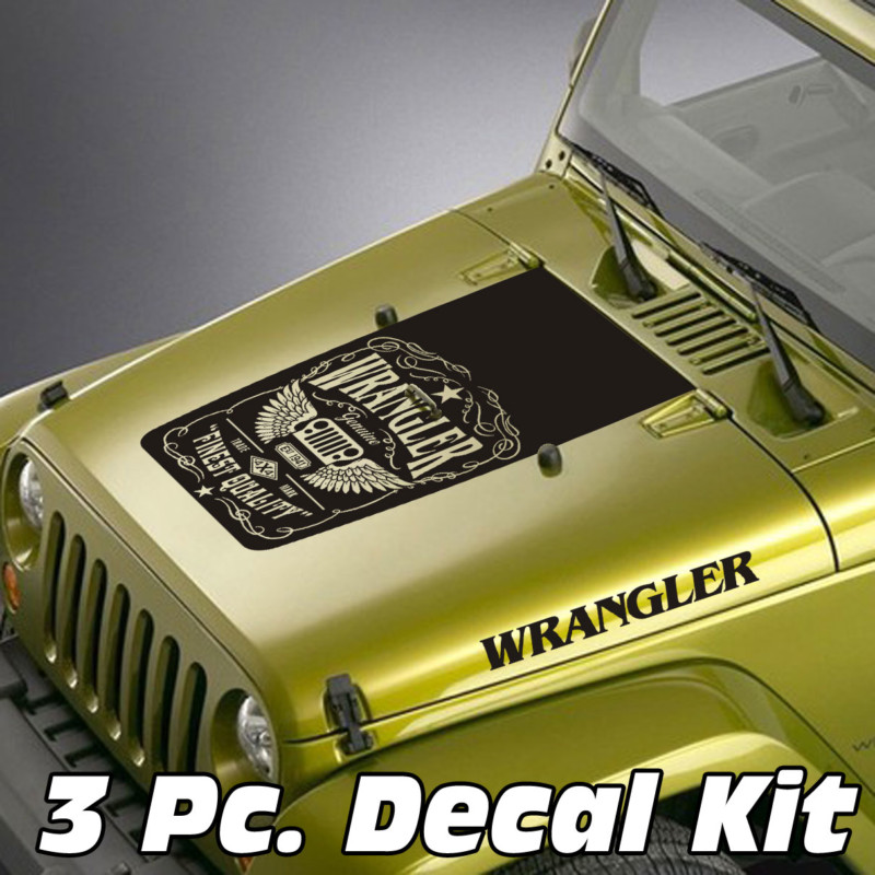 Jeep Wrangler 3 Pc. Whiskey Label Wrangler Blackout Kit