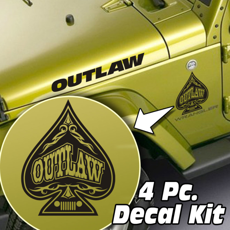 Jeep Wrangler 4 Pc. Hood / Fender Outlaw Spade Decal Kit