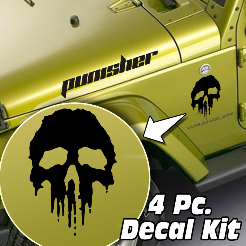 Jeep Wrangler 4 Pc. Hood / Fender Punisher Decal Kit
