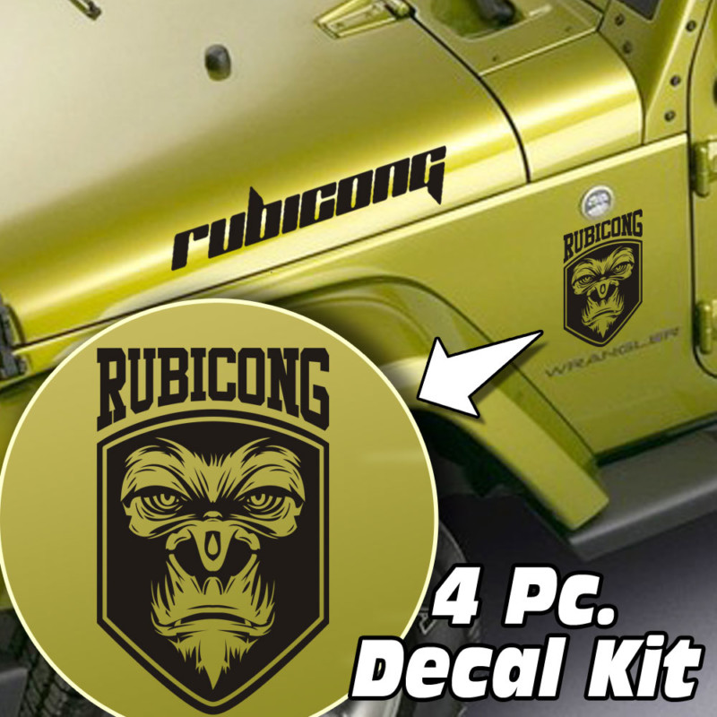 4 Pc. Hood / Fender Rubicong Gorilla Decal Kit – Fits Jeep Wrangler