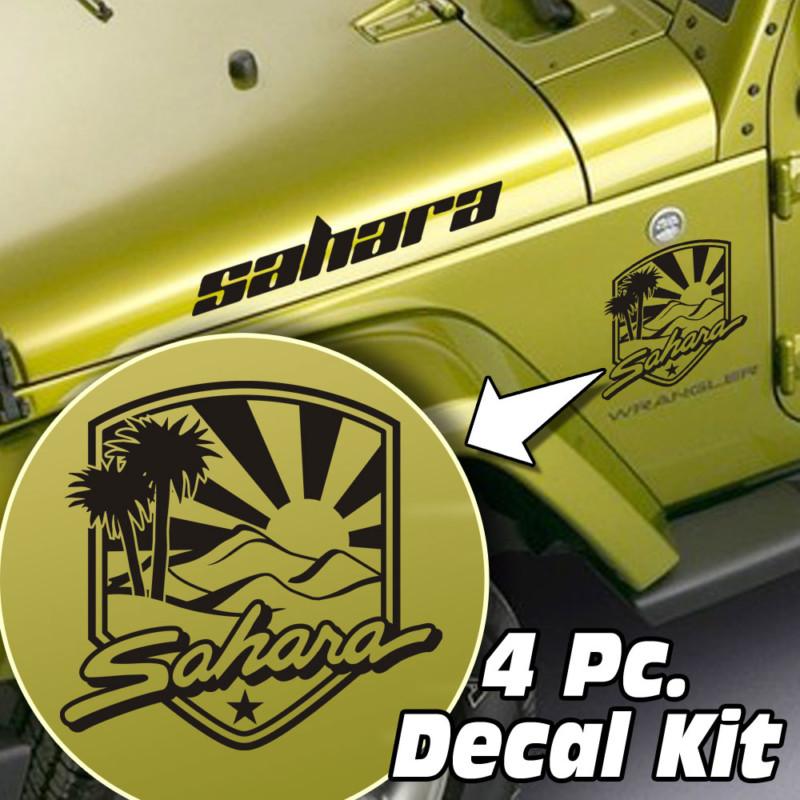 4 Pc. Hood / Fender Sahara Badge Decal Kit – Fits Jeep Wrangler