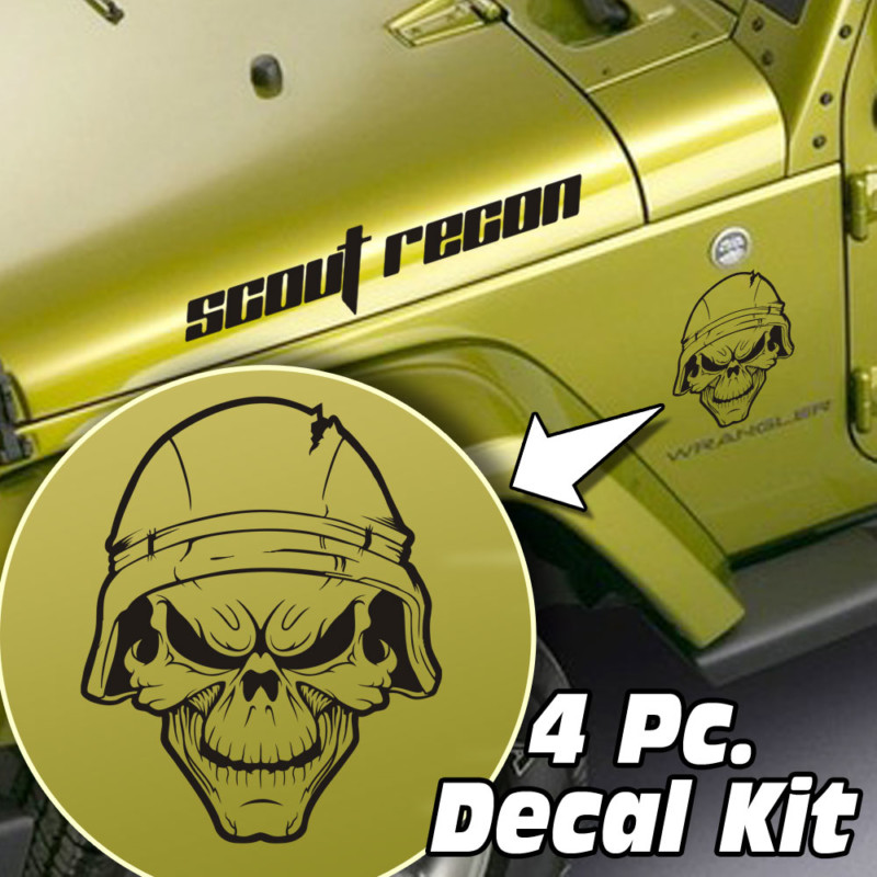 Jeep Wrangler 4 Pc. Hood / Fender Soldier Skull Decal Kit