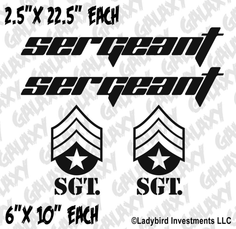 jeep wrangler 4 pc  hood    fender sergeant badge decal kit