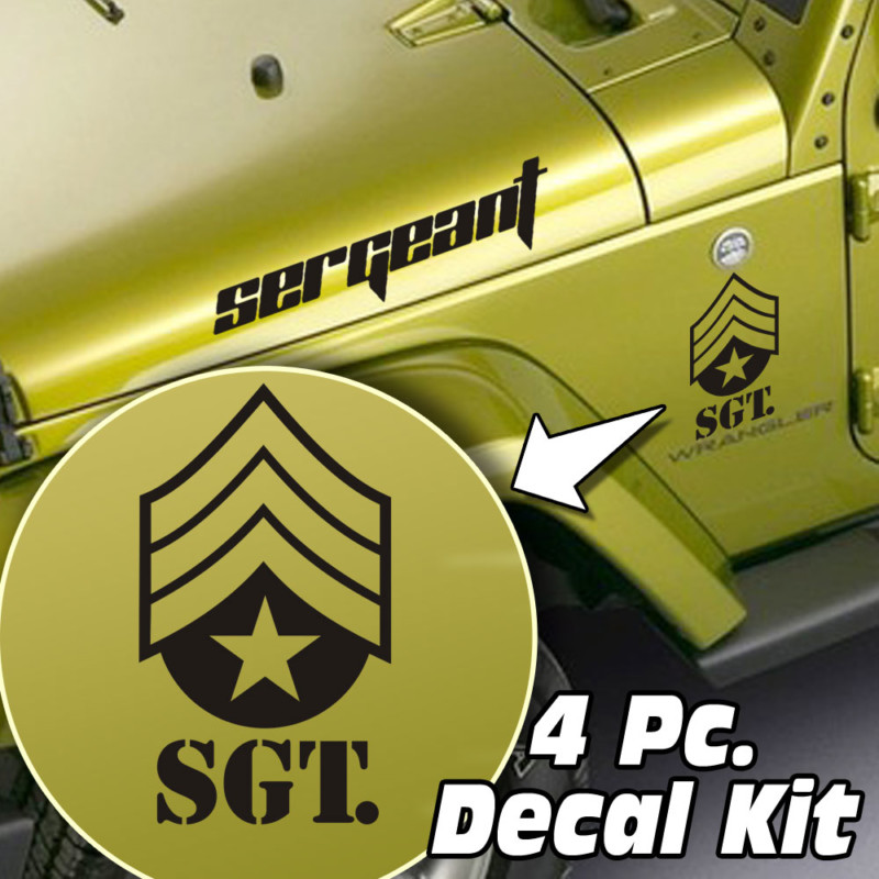 Jeep Wrangler 4 Pc. Hood / Fender Sergeant Badge Decal Kit