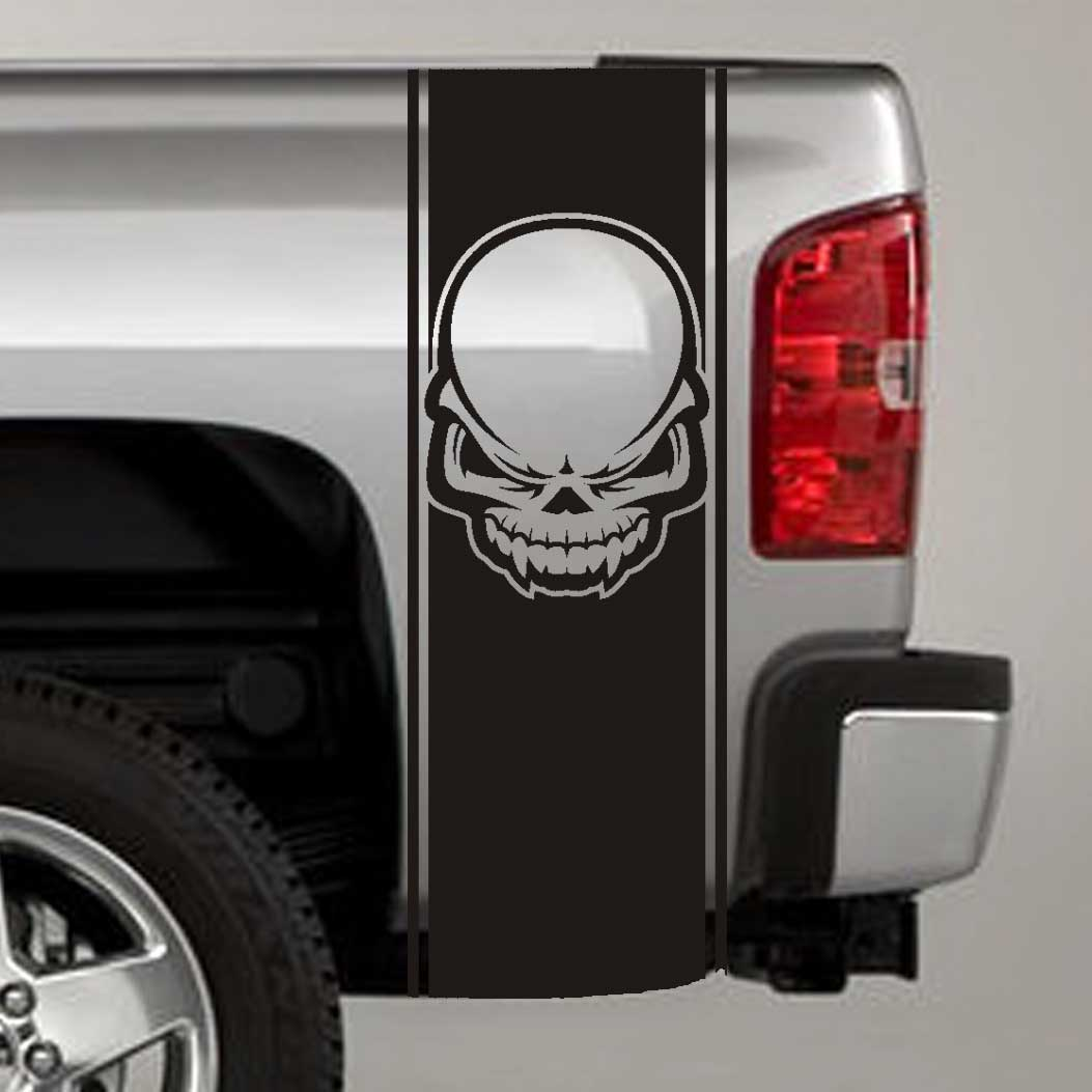 tribal skull truck bed stripe decal sticker
