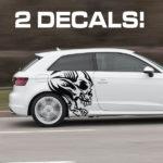 tribal skull car door decal sticker kit