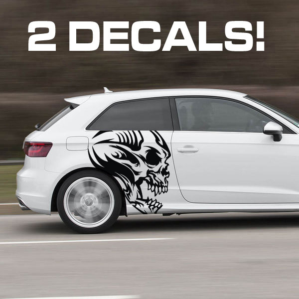 Tribal Profile Skull Car Door Decal Sticker