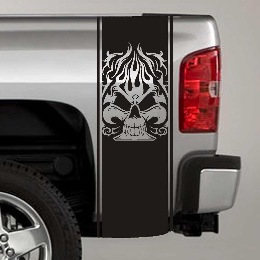 tribal spade skull truck bed stripe decal sticker