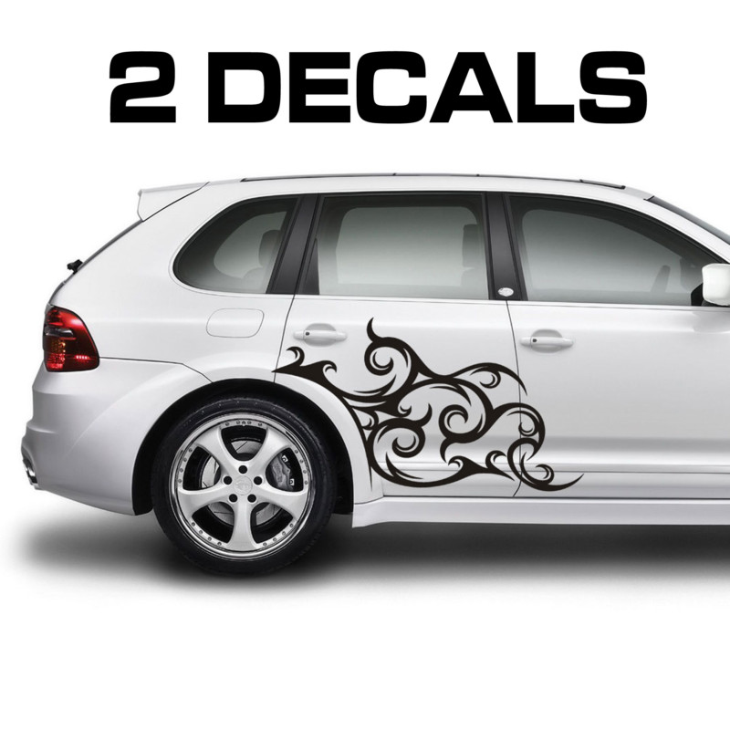 tribal scroll car door decal sticker kit