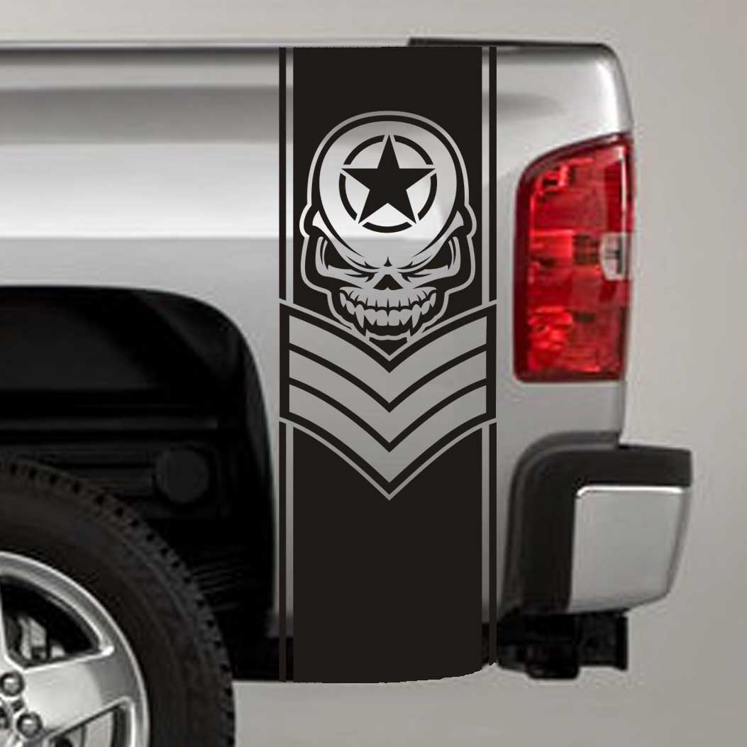 army star skull chevron truck bed stripe decal sticker