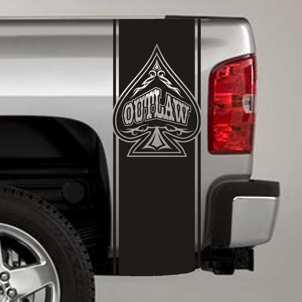 outlaw tribal spade truck bed stripe decal sticker
