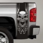 tribal skull and flames truck bed stripe decal sticker
