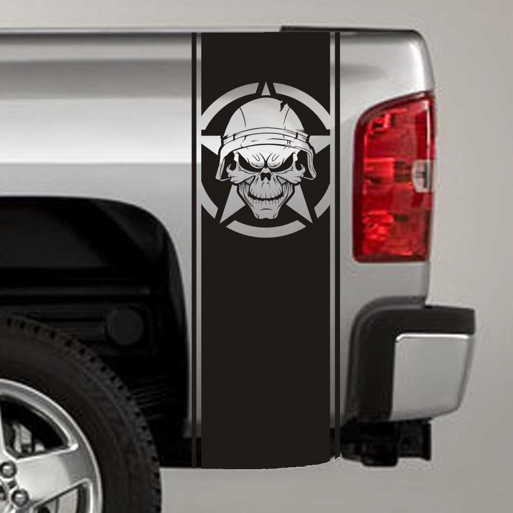 Army Star Soldier Skull Military Truck Bed Stripe Decals (Pair)