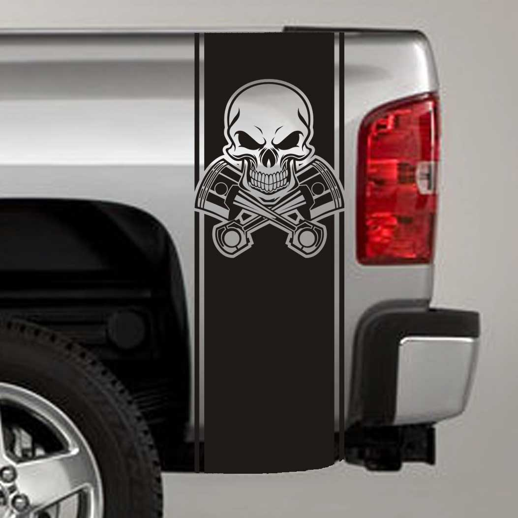 tribal skull and pistons truck bed stripe decal sticker