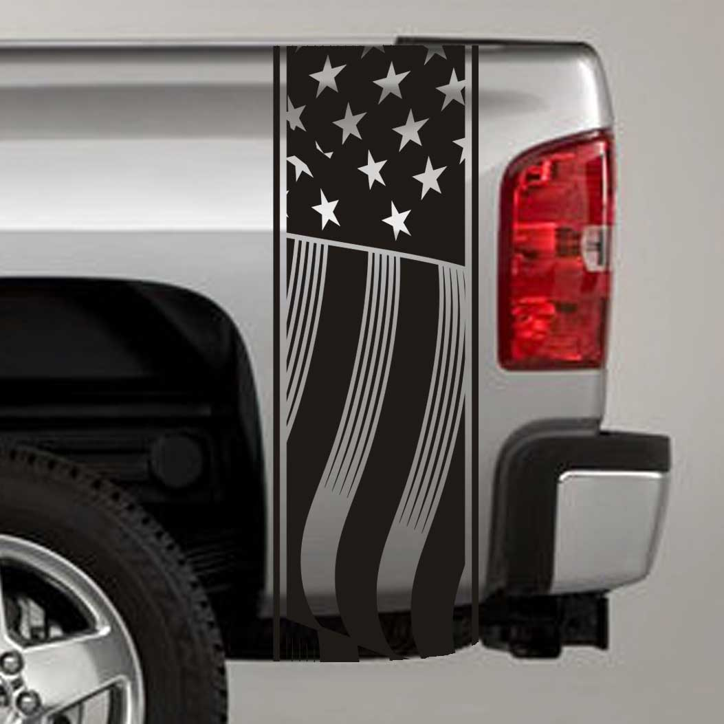US Flag Truck Bed Stripe Decals (Pair)