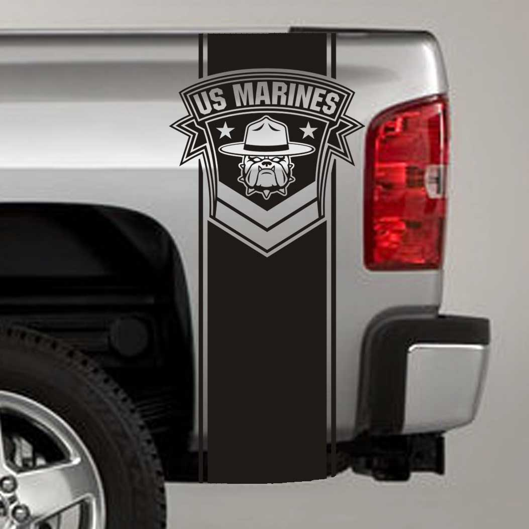 usmc drill instructor bulldog truck bed stripe decal sticker
