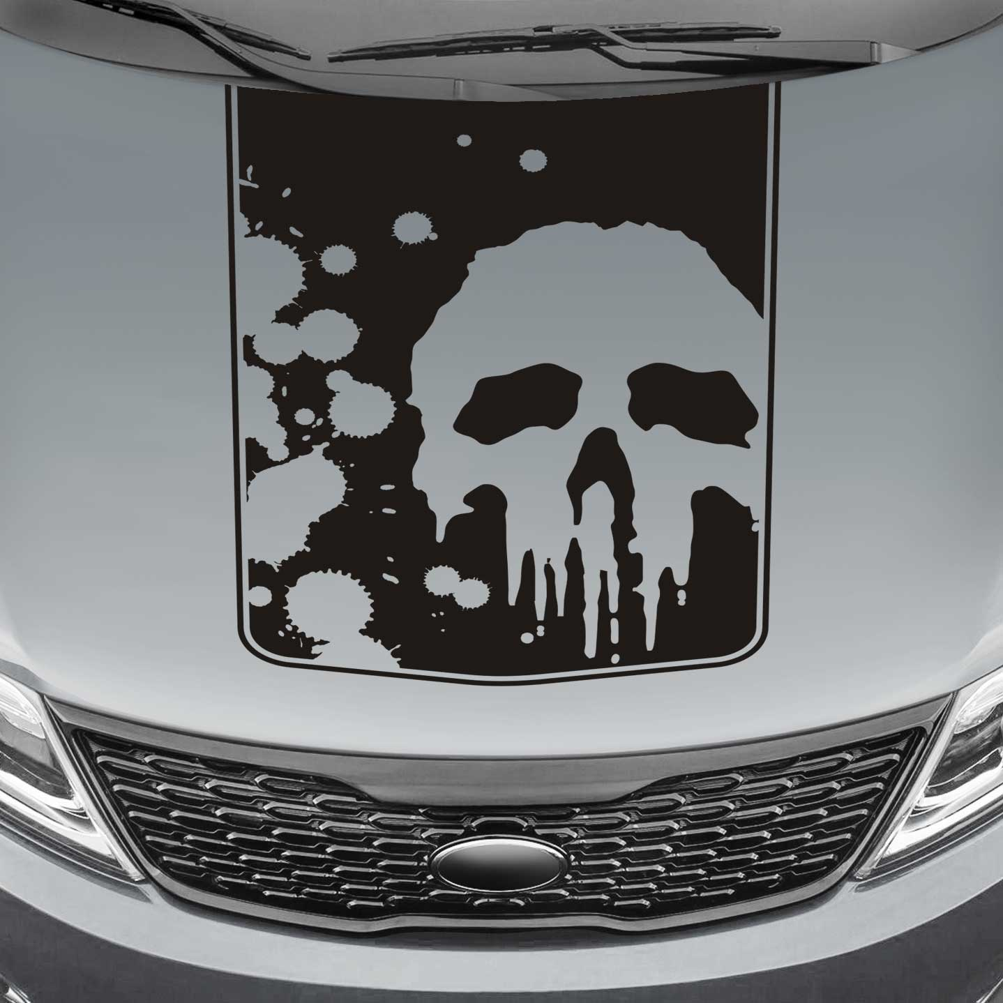 punisher skull blackout truck hood decal sticker